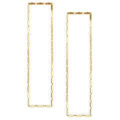 Earrings Long Light Box Chain Rectangular 18k Gold-Plated Silver Greek Earrings