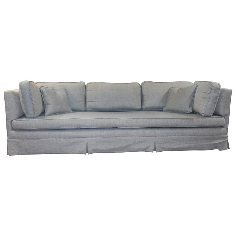 Long And Lovely Sofa In A Woven Blue Gray Fabric