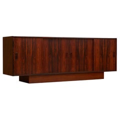 Long Low Danish Modern Rosewood Sliding Door Front Credenza Media Cabinet
