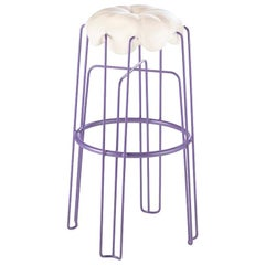 Long Marshmallow Stool by Paul Ketz in Moonflower, Polyurethane Foam and Steel