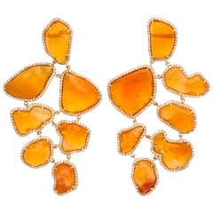 Long Mexican Fire Opal Diamond Earclips