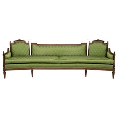 Long Mid Century Green Silk Sofa with Curved Angled Knole Style Frame