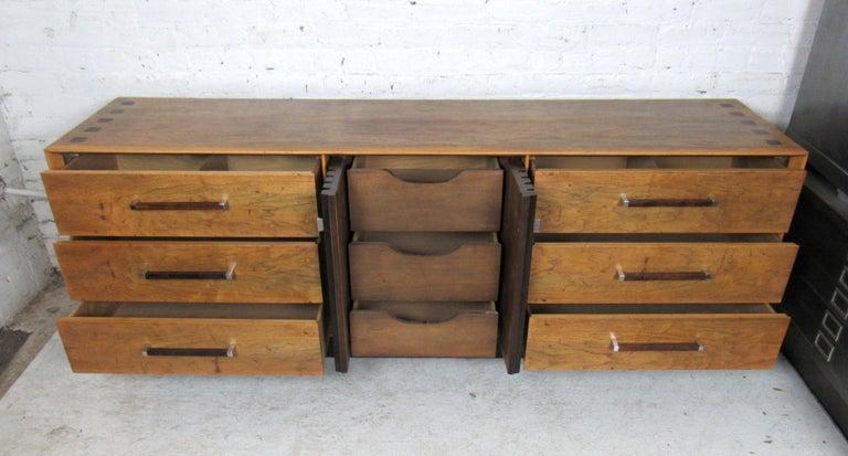 Wood Long Mid-Century Modern Dresser For Sale