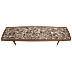 Long Mid Century  Mosaic Top Coffee Table in the Style of Martz