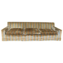Long Midcentury Velvet Stripe Tuxedo Sofa Couch in Blue, Yellow, Gold and Cream