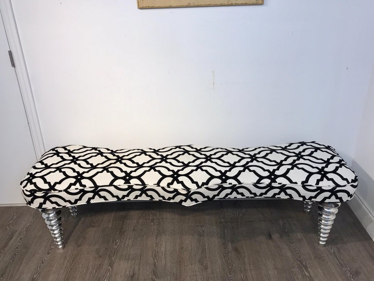 Cast Long Modern Chrome Bench in the Style of Christopher Guy For Sale