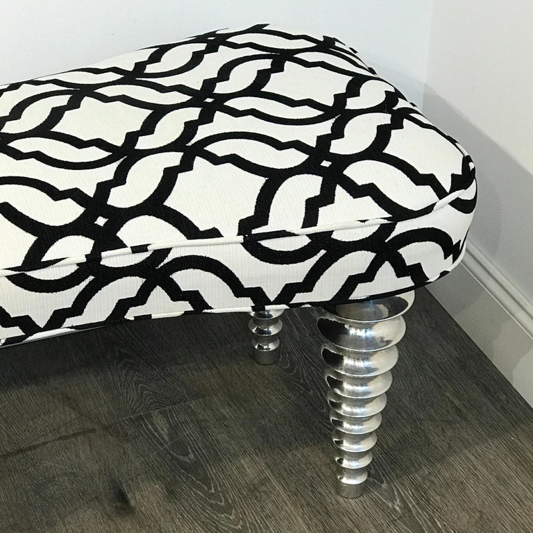 Long Modern Chrome Bench in the Style of Christopher Guy For Sale 1