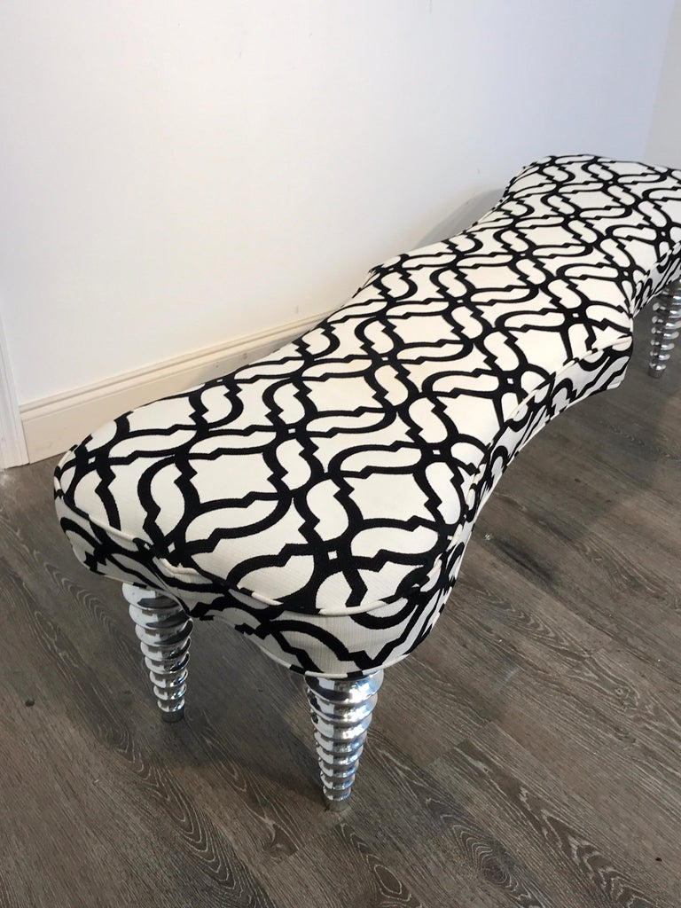 Long Modern Chrome Bench in the Style of Christopher Guy For Sale 2
