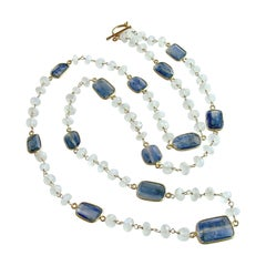 Long Moonstone with Kyanite Bezel Slab Stations Necklace, Atasi Necklace