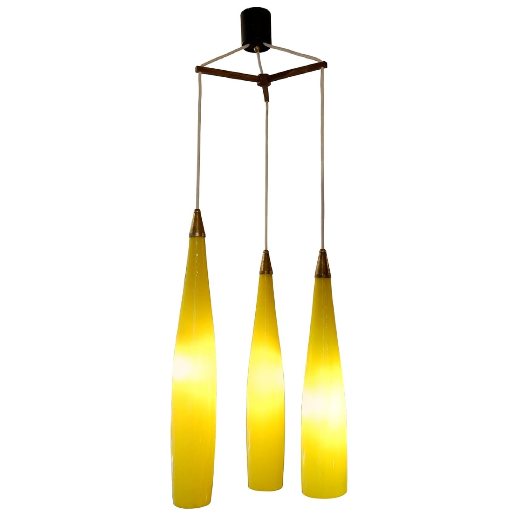 Long Murano Glass Pendant Light by Gino Vistosi for Vistosi