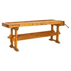Long Narrow Antique Carpenter's Workbench