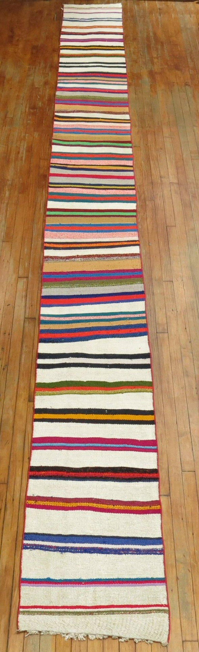 Long Narrow Bright Turkish Kilim Runner For Sale 3