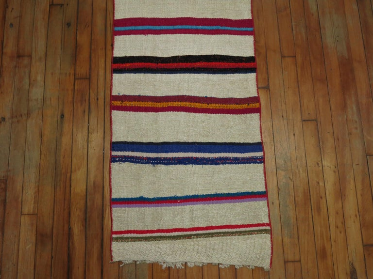 Bohemian Long Narrow Bright Turkish Kilim Runner For Sale