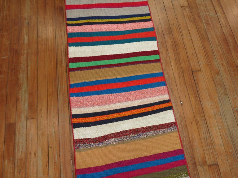 Long Narrow Bright Turkish Kilim Runner In Good Condition For Sale In New York, NY