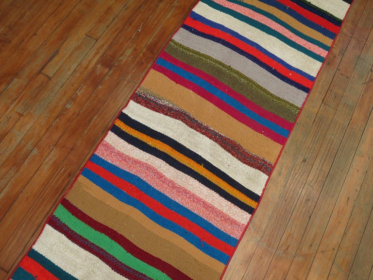 20th Century Long Narrow Bright Turkish Kilim Runner For Sale