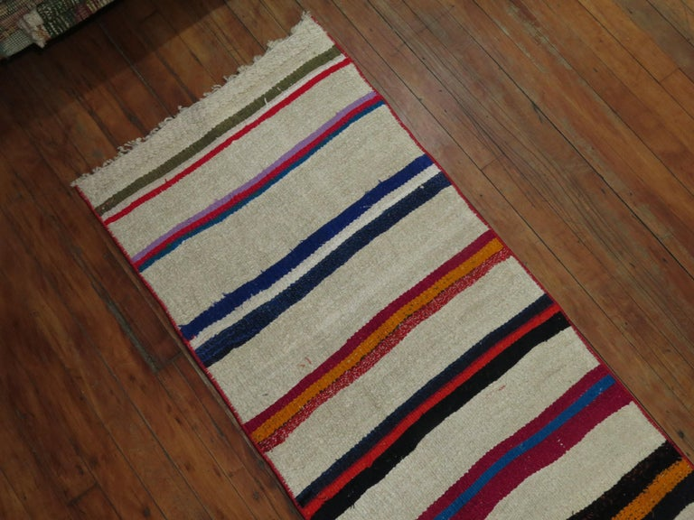 Wool Long Narrow Bright Turkish Kilim Runner For Sale