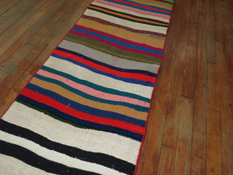 Long Narrow Bright Turkish Kilim Runner For Sale 1