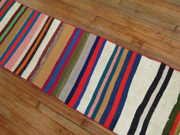 Long Narrow Bright Turkish Kilim Runner For Sale 2
