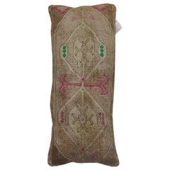 Long Narrow Brown Pink Pops of Green Turkish Pillow