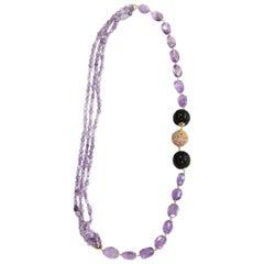Long Necklace Amethyst Gold Carved Ebony Carved Jade