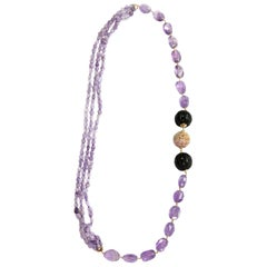 Long Necklace Amethyst Gold Carved Ebony Carved Jade