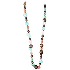 Long Necklace Ebony Coral Fluorite Turquoise