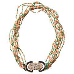 Long Necklace Opal Emerald Gold Antique Decò Broches