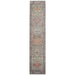 Long New Hand Knotted Wool Turkish Oushak Runner Rug