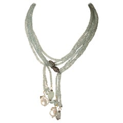 Long or Short Aquamarine Necklace with Diamonds by Deborah Lockhart Phillips