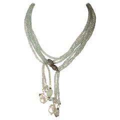 Long or Short Aquamarine Necklace with Diamonds by Deborah Lockhart Phillips