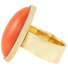 Long Oval Coral Cocktail Ring