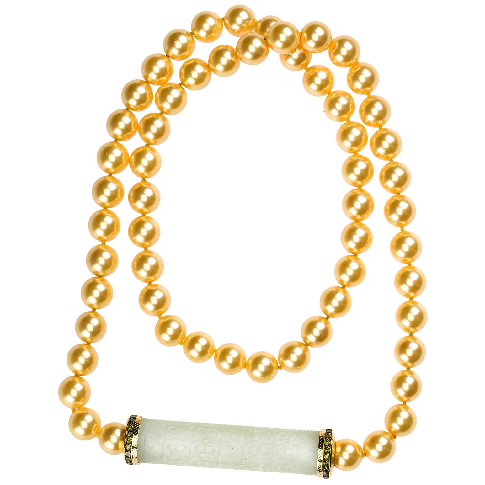 Long Pearl Necklace Jade Emerald Gold Peridot