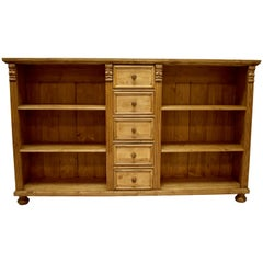 Long Pine Bookcase/TV Console with Five Drawers
