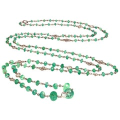 Long Platinum Faceted Natural Emerald Beads and Diamonds Necklace