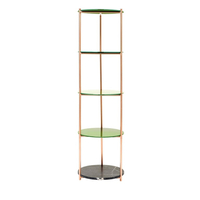 The extremely essential design and lines' simplicity enhance the modern character and aesthetic versatility of this single column étagère. The warm copper structure plays beautifully against the natural surface of the stone shelves and the glossy