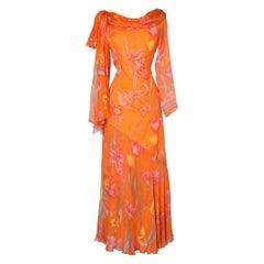 Long printed dress in chiffon Jean-Louis Scherrer