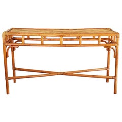 Long Rectangular Hollywood Regency Bamboo Rattan and Bentwood Sofa Console Table
