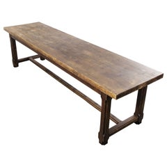Long Rectangular Oak and Birch French Refectory Dining Table