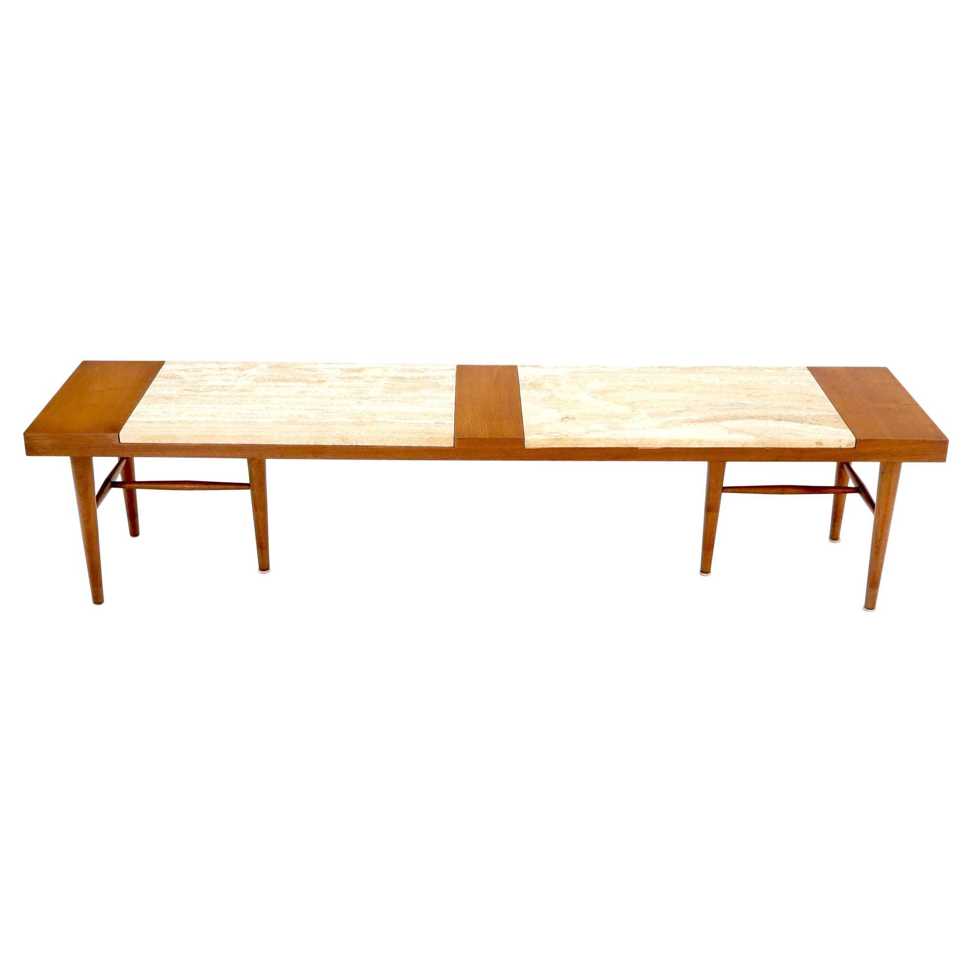 Long Rectangular Walnut Coffee Table w/ Two Travertine Inserts