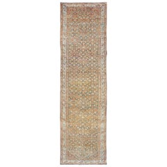 Long Runner Antique Runner from Persia Malayer in Charcoal Gray, Red, Ivory