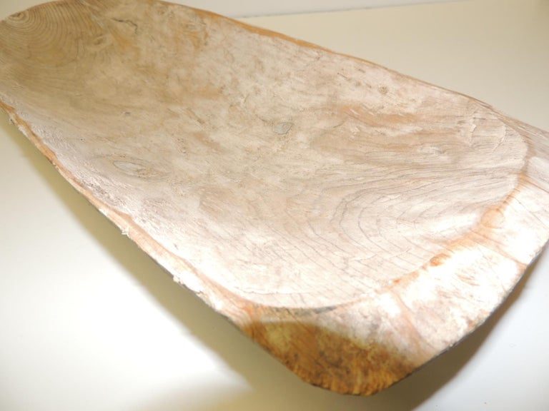 Long rustic bread serving bowl with light patina. Size: 8 W x 3 H x 23 L.