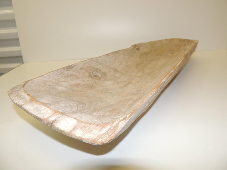 Balinese Long Rustic Bread Serving Bowl with Light Patina