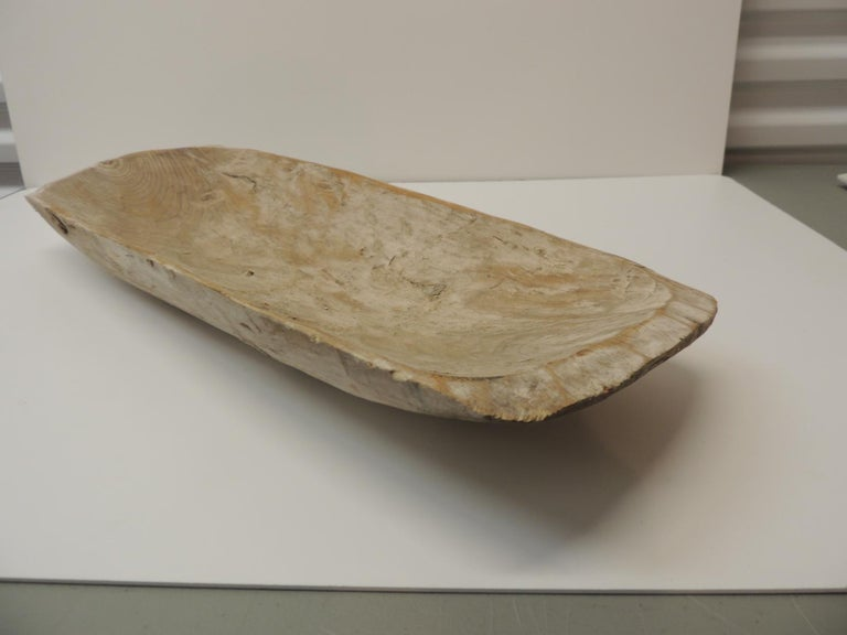 Hand-Crafted Long Rustic Bread Serving Bowl with Light Patina