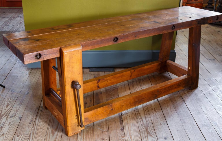 Long Rustic Industrial Wood Work Bench From Belgium Circa