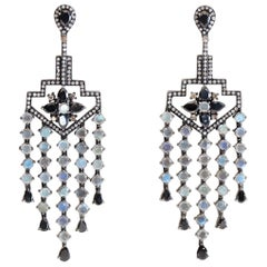 Long Sapphire, Moonstone and Diamond Chandelier Dangle Earrings