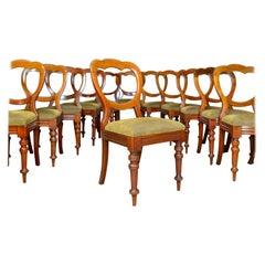 Long Set of 12 Antique Dining Chairs, English, Victorian, Balloon Back