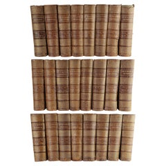 Long Set of Large Antique Leather Bindings for Decoration
