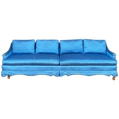 Long Shantung Chinoiserie Blue Sofa with Fleur de Lis Embroidery, Seats 4