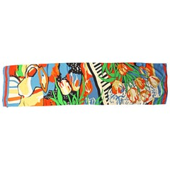 Long Silk Scarf with a Brightly Coloured Abstract Tulip Flower and Vase Print