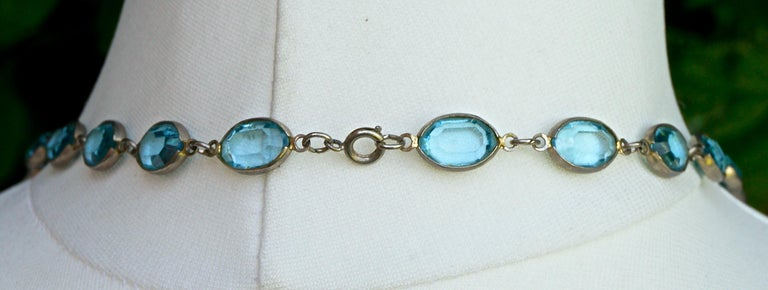 Long Silver Tone and Bezel Set Open Back Oval Blue Glass Link Necklace For Sale 1